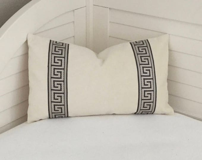 Ivory Velvet with Pewter Gray Greek Key Tape Lumbar Designer Pillow Cover - Other Trim Colors Available
