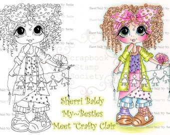 INSTANT DOWNLOAD Digital Digi Stamps Big Eye Big Head Dolls Digi  IMG884 By Sherri Baldy