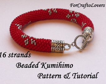 16 strands beaded kumihimo pattern turorial bracelet