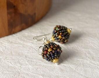 Beadwoven ball earrings