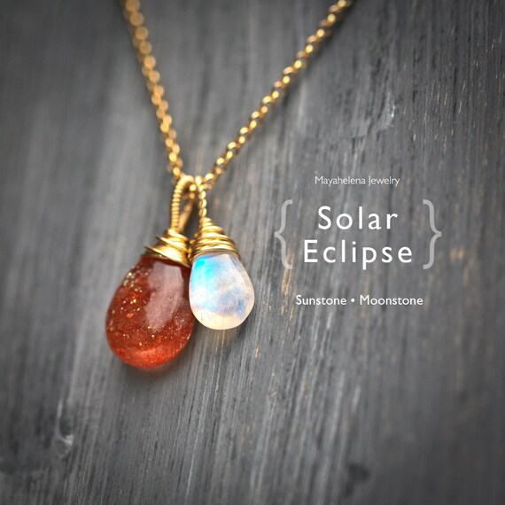 Solar Eclipse - Moonstone and Sunstone Wire Wrapped 14k Gold Filled Necklace