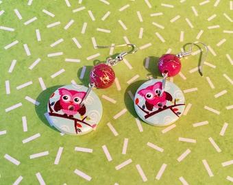 Bud earrings 2 little owls for pierced ears