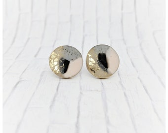 Blush  earrings pink and black earrings nickel free earrings lightweight earrings polymer clay jewelry gold earrings gift for her pink studs