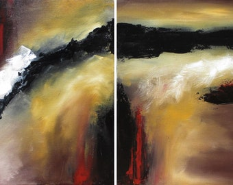 "Original Painting, Abstract Painting, Abstract Art, Modern Art, Contemporary, Palette Knife, Multiple Canvases, Textured ""Formidable I & II"""