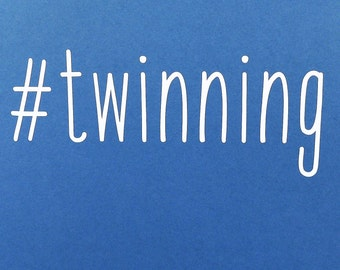 Twins decal for auto, water bottles, laptop. #twinning. Fun decal for twin mom, dad. Add onto a baby shower gift for twins. Twins, twin mom