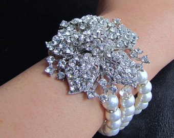 Bridal pearl bracelet , triple strand white sea shell pearl wedding bracelet with large flower rhinestone brooch - Alexia