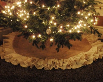 """58"""" Double Ruffle Burlap Tree Skirt-Natural Burlap-Christmas-Country/Folk/Rustic- Other Colors Available-Customize-Large Tree Skirt"""
