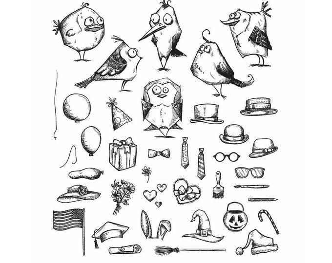 Tim Holtz MINI Bird Crazy & Things Cling Red Rubber Stamps Set CMS250