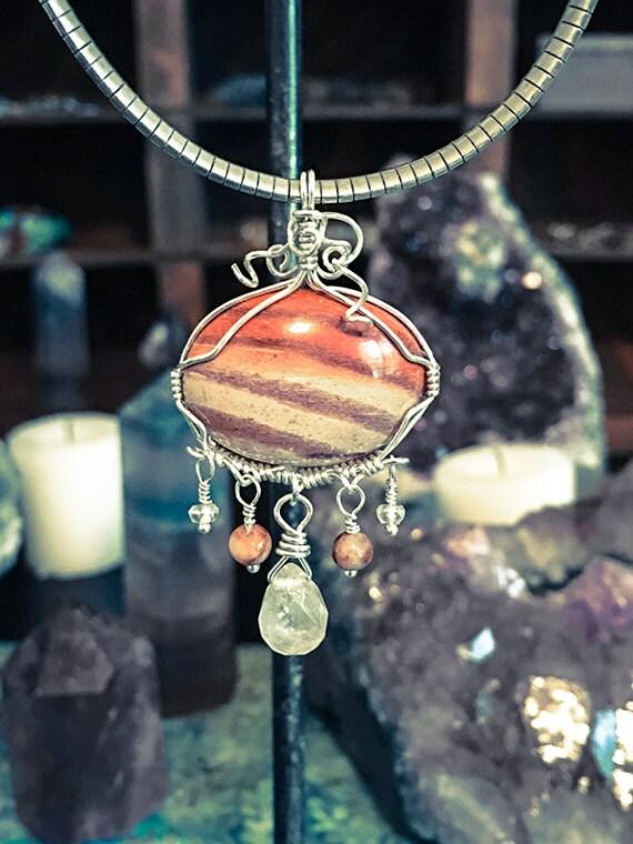 Zebra Jasper Wire Wrapped Pendant, Wire Wrapped Jewelry, Moonstone Jewelry