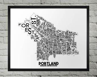 Portland Oregon Neighborhood Typography City Map Print