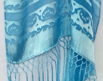 "Teal Devore Cut Satin Shawl in ""Underwater"" Pattern"