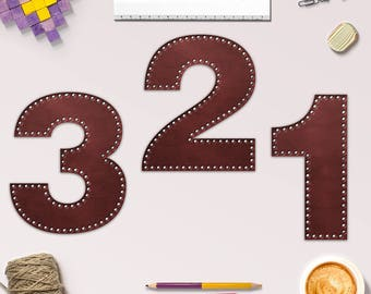 Brown Leather Numbers Clipart, Leather Rivets, 10 Leather Numbers  For Scrapbooking, Crafting, Invites & More, Coupon Code: BUY5FOR8