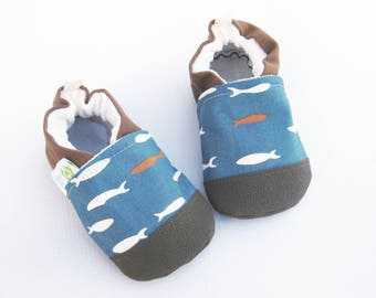 Organic Vegan Salmon Run with paprika / non-slip soft sole baby shoes / made to order / Babies Toddlers Preschool