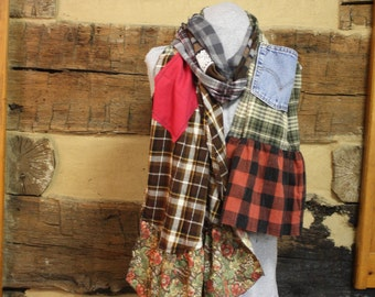 Flannel Scarf Rustic Plaid Upcycled Chic Scrappy Scarves Mori Girl Tattered Boho Hippie Patchwork Denim Pocket Scarf Anthropologie Style