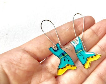 Dress dangle earrings, clothing jewelry, purple dress earring