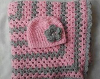 Baby girl blanket, carseat girl blanket, newborn girl hat, baby girl blanket, newborn girl blanket, crochet blanket, stroller blanket