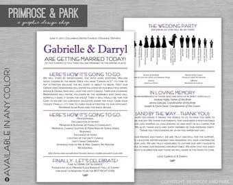 Funny Wedding Program • Silhouette Wedding Program • Wedding Program Download