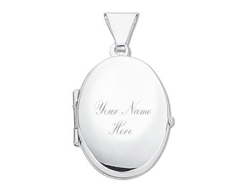 Personalised Engraved Sterling Silver 2 Photo Plain Oval Locket 2cm x 1.5cm