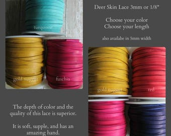 3mm Deerskin Lace, By the yard, Deerskin, Deer Skin, Lace, Leather Lace, Lace, Leather, 3mm lace, 3mm leather