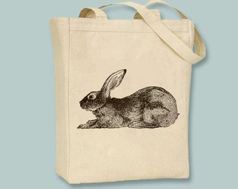 Rabbit,  Bunny, Hare, Easter, Spring Illustration Canvas Tote -selection of sizes available, ANY COLOR image