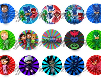 INSTANT DOWNLOAD One Inch 4x6 Bottle Cap Images: PJ Masks Catboy Gekko Owlette Luna Girl Romeo Night Ninja Logo Circle Nick Jr Cupcake Hq