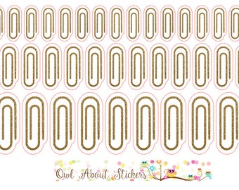 Gold Glitter Paper Clip Stickers