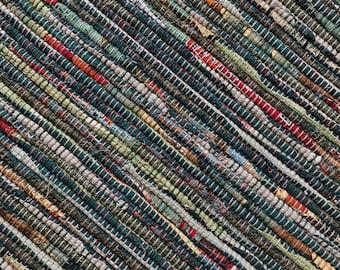 "Hand Woven Rag Rug - Seed Catalog Green Cotton 26"" x 46"""