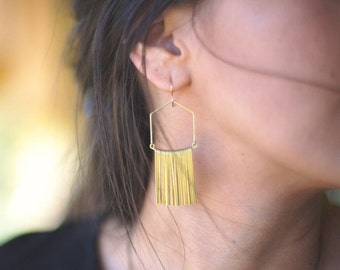 Wide Angular Fringe Earrings