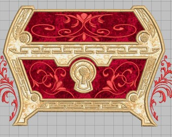 Zelda Machine Embroidery Applique Design - Fancy Embellished Treasure Chest 8x8