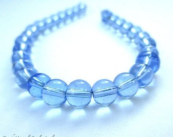 Blue Beads, 6mm Round Glass Beads, Clear Glass 6 mm Ball Beads, DIY Jewelry Making Supplies - 30 Pieces   SP699