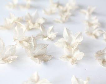 Metallic Organza Gold 3D Fabric Flowers Petals 30pcs - wedding flowers, 3D flower appliqué, handmade sheer petals, bridal embroidery