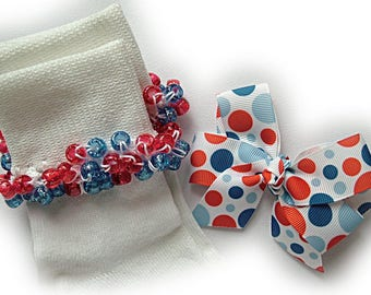 Kathy's Beaded Socks - Americana Dots Socks and Hairbow, school socks, pony bead socks, clear pony beads, red blue pony beads, dot socks