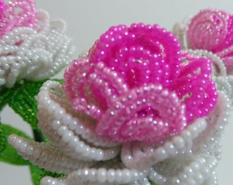 French Beaded Flowers DoubleTriple Color Peonies in Pink & White