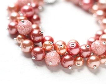 Salmon Pink, Peach and Orange Wedding, Bridesmaid Jewelry, Pearl Cluster Bracelet, Chunky and Elegant