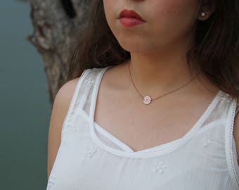 Rose Gold Initial Disk Necklace