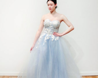 Blue Strapless Floral Ballgown Wedding Dress
