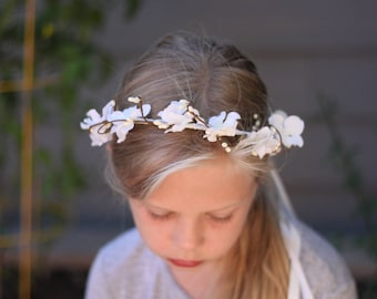 white floral crown,, first communion floral crown, flower girl accessories