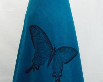 Butterfly Screenprint on Teal Corduroy Aline Cotton Skirt