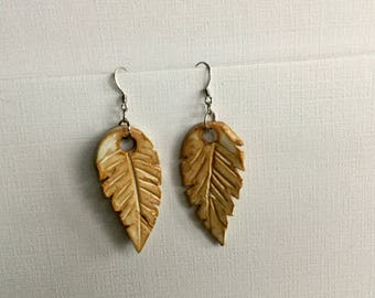 Beige Natural Clay Feathers  Drop Earrings