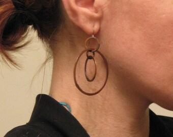 Copper Hoop Earrings,  Modern Swivel - handmade copper jewelry - handmade in Austin, Tx