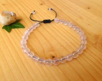 Rose Quartz bracelet, gifts for her, gemstone bracelet, rose quartz jewelry, adjustable bracelet, bohemian jewelry, rose beaded bracelet