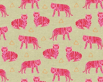 Tigers in Fuschia (Linen Blend Fabric) by Sarah Golden from the Tiger Plant collection for Andover #ALN-8646-E by 1/2 yard