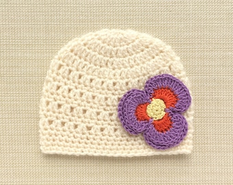 Infant newborn girl hat Crochet baby girl hats Newborn baby hat with flower Newborn girl hospital hat Newborn beanie Infant girl photo prop