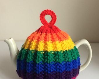 Hand Knitted Medium Rainbow Rib Tea Cosy *FREE UK POSTAGE*