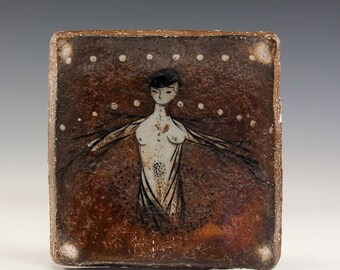 Exquisite Wood Fired Square Plate by Jenny Mendes - Dream