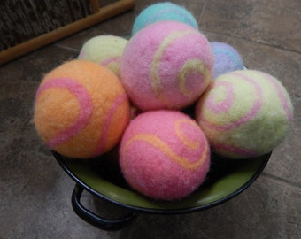 Ovella Wool Dryer Balls: The Doces Swirl Collection set of Three (3) bright, colorful, pink, purple, yellow, green, blue, swirls, mix