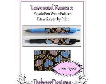 Bead Pattern Peyote(Pen Wrap/Cover)-Love and Roses 2