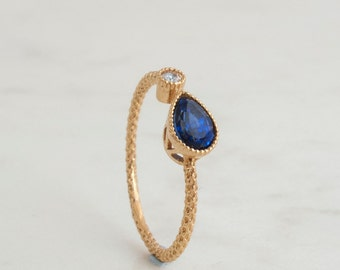 Open ring - 0.63 ctw Blue Sapphire - 0.04 Ct Diamond ring - adjustable Stacking ring -14 Karat Gold - Natural - September Birthstone