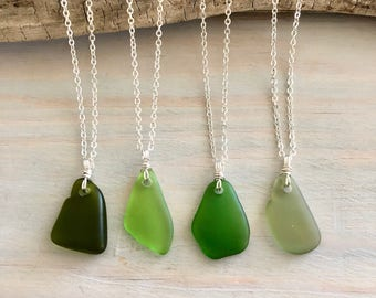 Choose Your Own Sea Glass Necklace - Green Sea Glass Necklace - Beach Glass Necklace - Sea Glass Jewelry - Genuine Sea Glass - Green Pendant