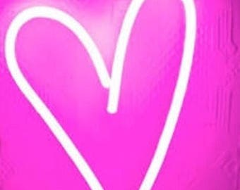 """Neon love heart, made from 12mm pink, other colours and designs are available, approximate size 12"""" x 16"""" again size can be changed to suite"""